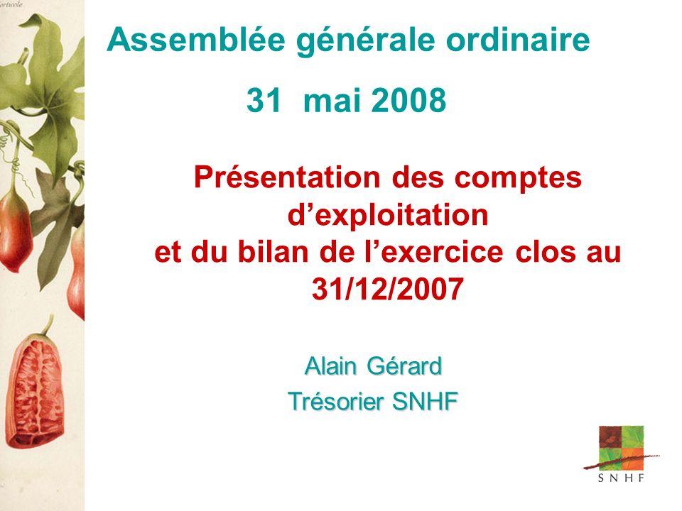 Présentation des comptes dexploitation et du bilan de lexercice clos au 31/12/2007 Alain Gérard Trésorier SNHF Assemblée générale ordinaire 31 mai 2008
