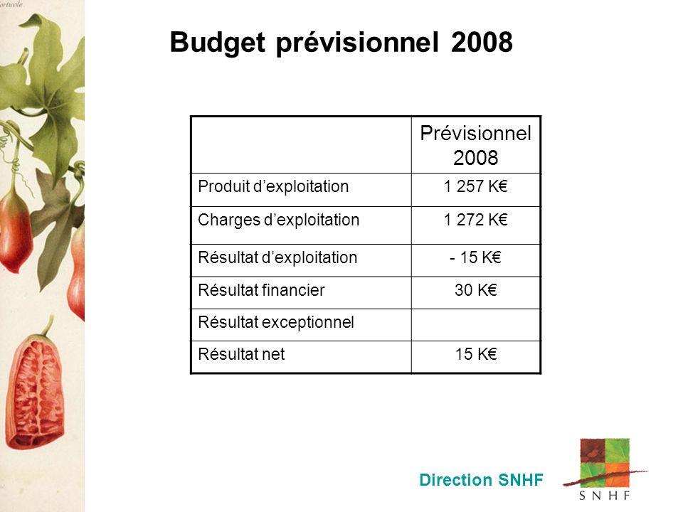 Budget prévisionnel 2008 Direction SNHF Prévisionnel 2008 Produit dexploitation1 257 K Charges dexploitation1 272 K Résultat dexploitation- 15 K Résultat financier30 K Résultat exceptionnel Résultat net15 K