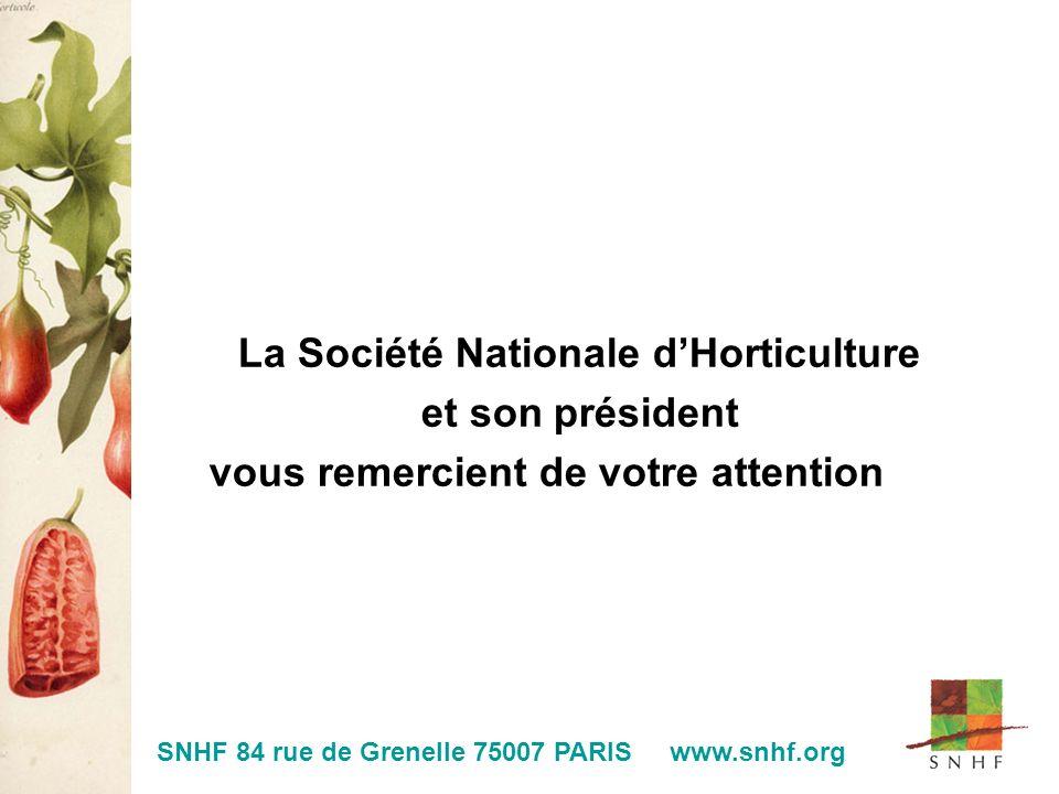 La Société Nationale dHorticulture et son président vous remercient de votre attention SNHF 84 rue de Grenelle 75007 PARIS www.snhf.org