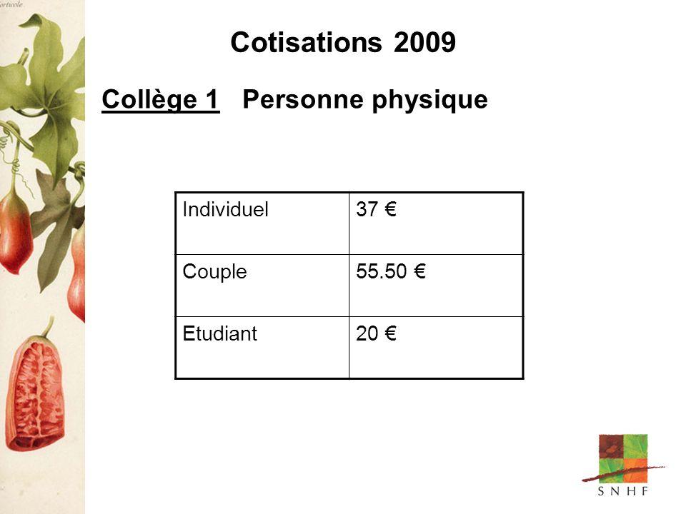 Cotisations 2009 Collège 1 Personne physique Individuel37 Couple55.50 Etudiant20