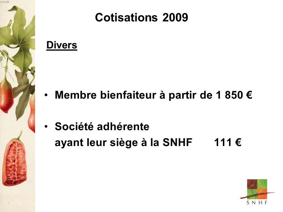 Cotisations 2009 Membre bienfaiteur à partir de 1 850 Société adhérente ayant leur siège à la SNHF 111 Divers