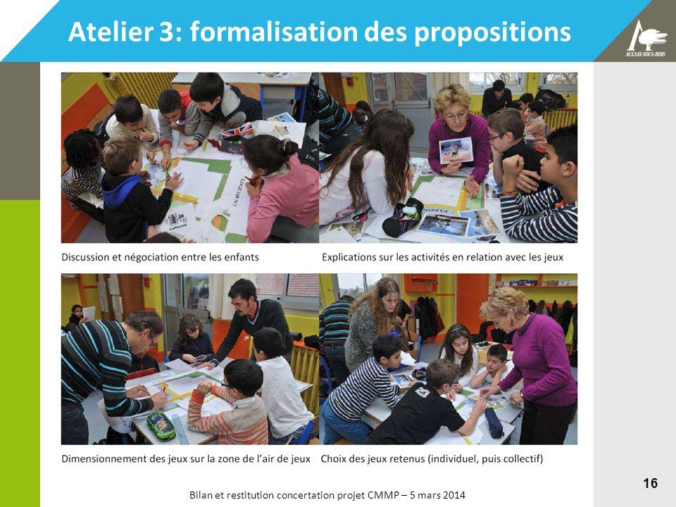 Bilan et restitution concertation projet CMMP – 5 mars 2014 16 Atelier 3: formalisation des propositions
