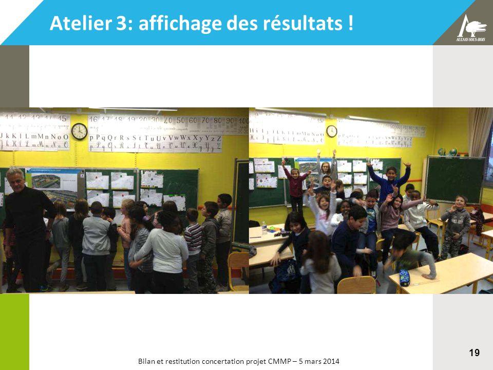 Bilan et restitution concertation projet CMMP – 5 mars 2014 19 Atelier 3: affichage des résultats !