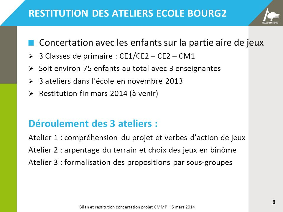Bilan et restitution concertation projet CMMP – 5 mars 2014 8 Concertation avec les enfants sur la partie aire de jeux 3 Classes de primaire : CE1/CE2
