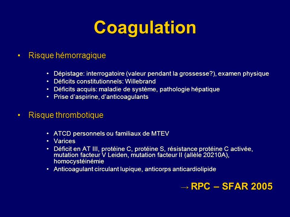 Coagulation Risque hémorragiqueRisque hémorragique Dépistage: interrogatoire (valeur pendant la grossesse?), examen physiqueDépistage: interrogatoire