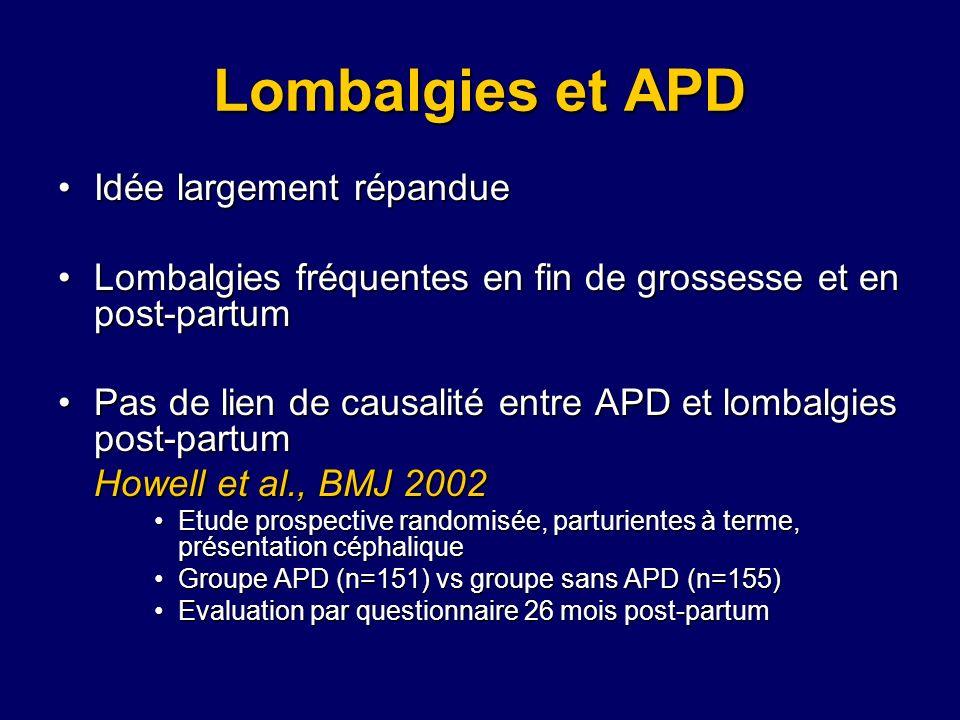 Lombalgies et APD Idée largement répandueIdée largement répandue Lombalgies fréquentes en fin de grossesse et en post-partumLombalgies fréquentes en f