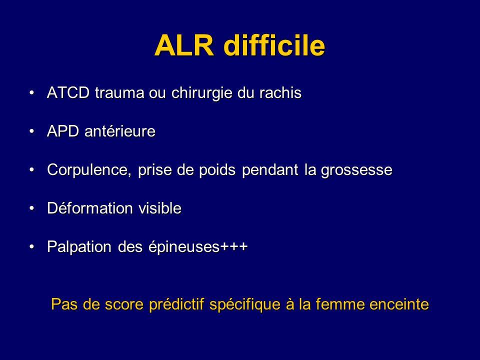 ALR difficile ATCD trauma ou chirurgie du rachisATCD trauma ou chirurgie du rachis APD antérieureAPD antérieure Corpulence, prise de poids pendant la