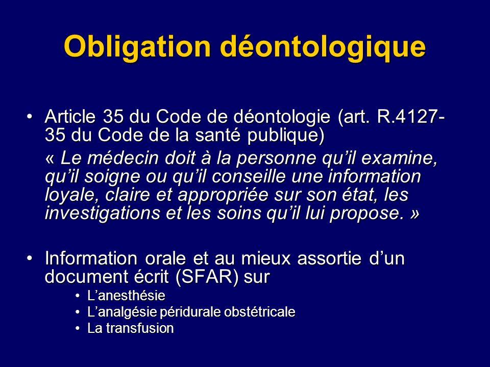Obligation déontologique Article 35 du Code de déontologie (art. R.4127- 35 du Code de la santé publique)Article 35 du Code de déontologie (art. R.412
