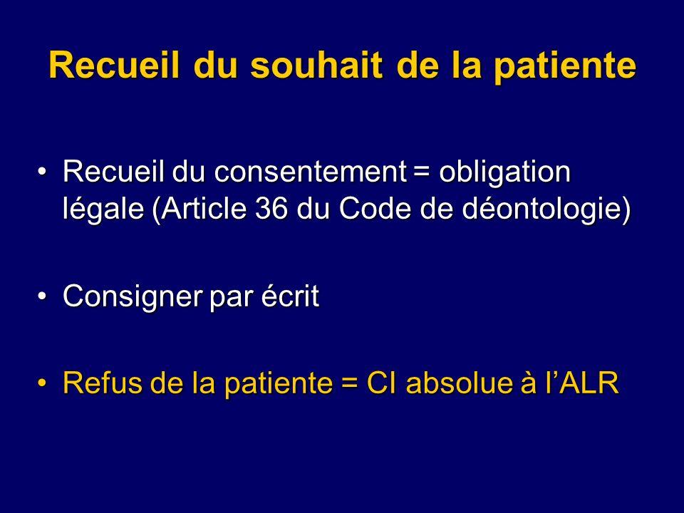 Recueil du souhait de la patiente Recueil du consentement = obligation légale (Article 36 du Code de déontologie)Recueil du consentement = obligation