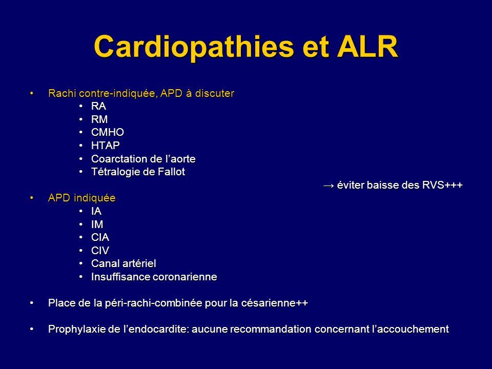 Cardiopathies et ALR Rachi contre-indiquée, APD à discuterRachi contre-indiquée, APD à discuter RARA RMRM CMHOCMHO HTAPHTAP Coarctation de laorteCoarc
