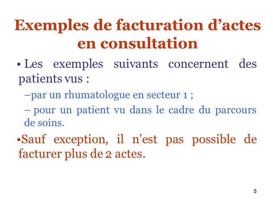 5 Exemples de facturation dactes en consultation Les exemples suivants concernent des patients vus : –par un rhumatologue en secteur 1 ; – pour un pat