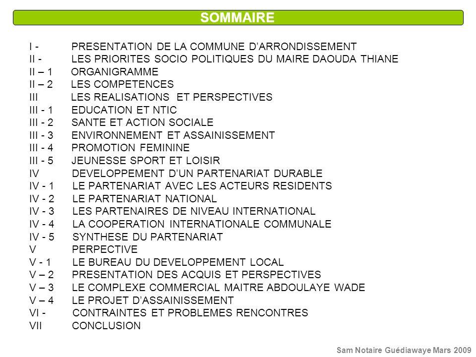 I - PRESENTATION DE LA COMMUNE DARRONDISSEMENT II - LES PRIORITES SOCIO POLITIQUES DU MAIRE DAOUDA THIANE II – 1 ORGANIGRAMME II – 2 LES COMPETENCES I