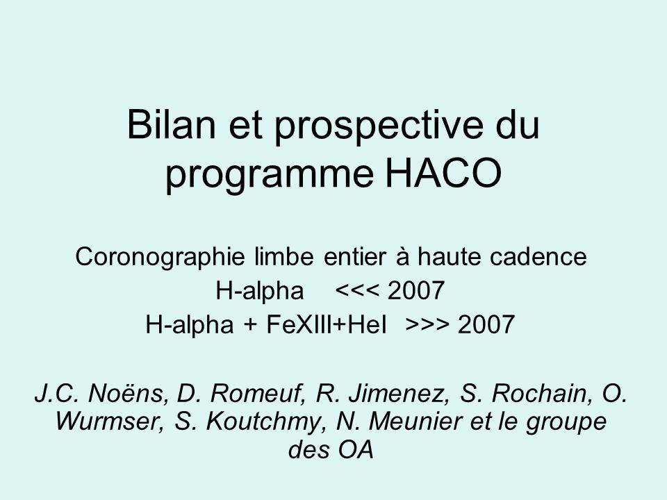 Bilan et prospective du programme HACO Coronographie limbe entier à haute cadence H-alpha <<< 2007 H-alpha + FeXIII+HeI >>> 2007 J.C.