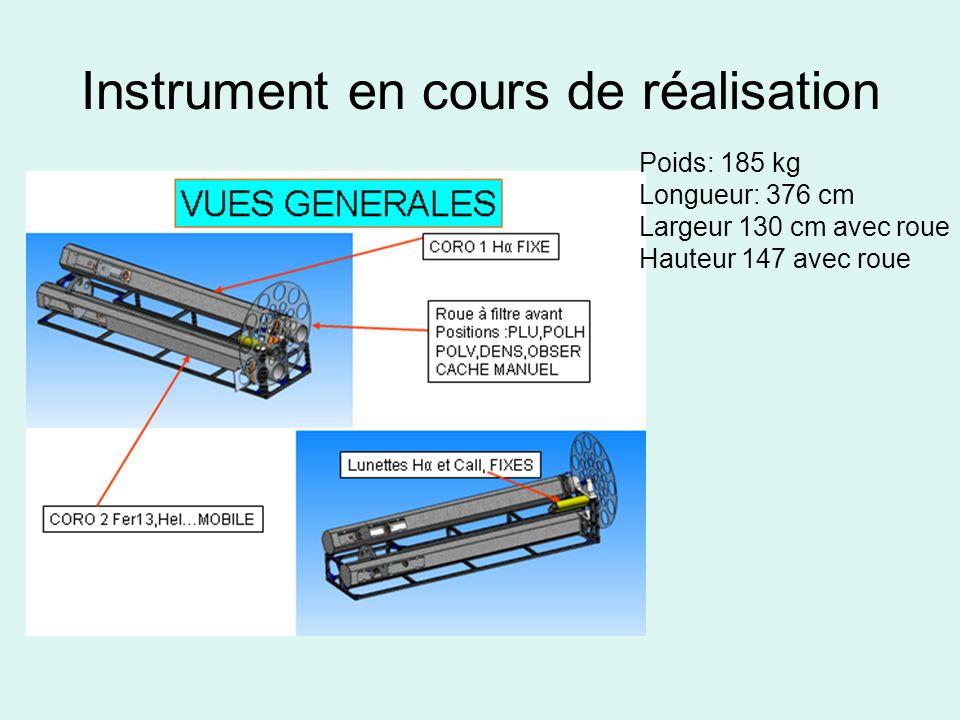 Instrument en cours de réalisation Poids: 185 kg Longueur: 376 cm Largeur 130 cm avec roue Hauteur 147 avec roue
