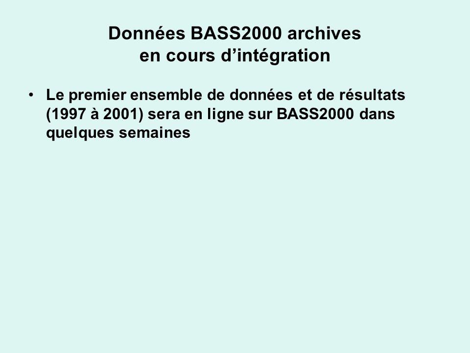 Données BASS2000 archives en cours dintégration Le premier ensemble de données et de résultats (1997 à 2001) sera en ligne sur BASS2000 dans quelques semaines