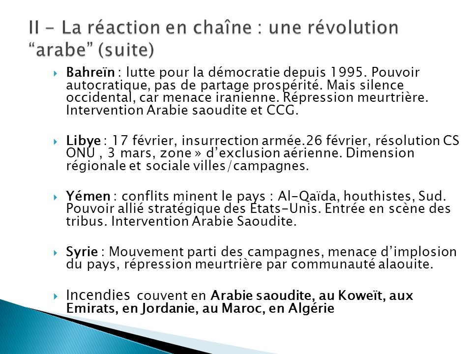 Bahreïn : lutte pour la démocratie depuis 1995. Pouvoir autocratique, pas de partage prospérité. Mais silence occidental, car menace iranienne. Répres