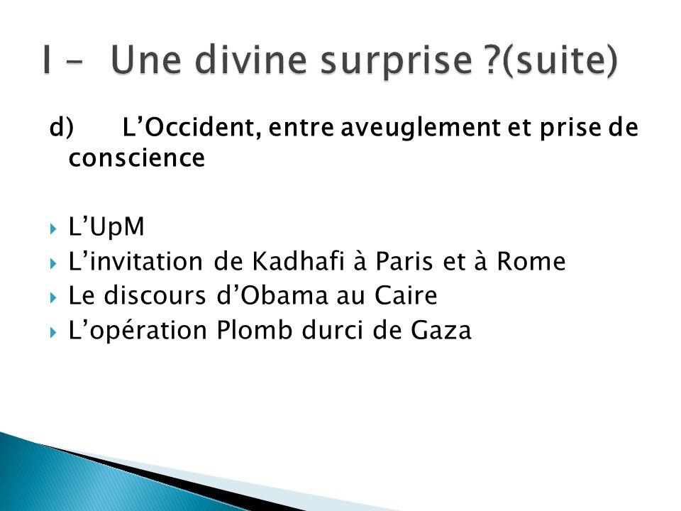 d) LOccident, entre aveuglement et prise de conscience LUpM Linvitation de Kadhafi à Paris et à Rome Le discours dObama au Caire Lopération Plomb durc