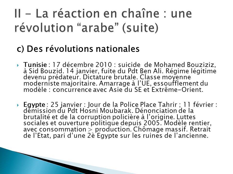 c) Des révolutions nationales Tunisie : 17 décembre 2010 : suicide de Mohamed Bouziziz, à Sid Bouzid. 14 janvier, fuite du Pdt Ben Ali. Régime légitim