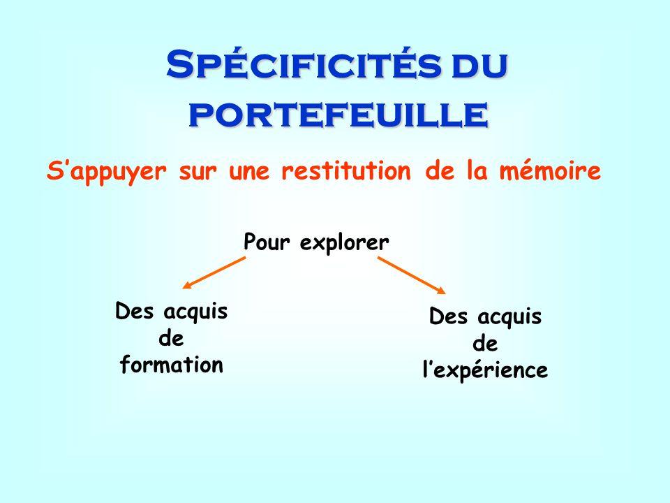 Spécificités du portefeuille Sappuyer sur une restitution de la mémoire Pour explorer Des acquis de formation Des acquis de lexpérience