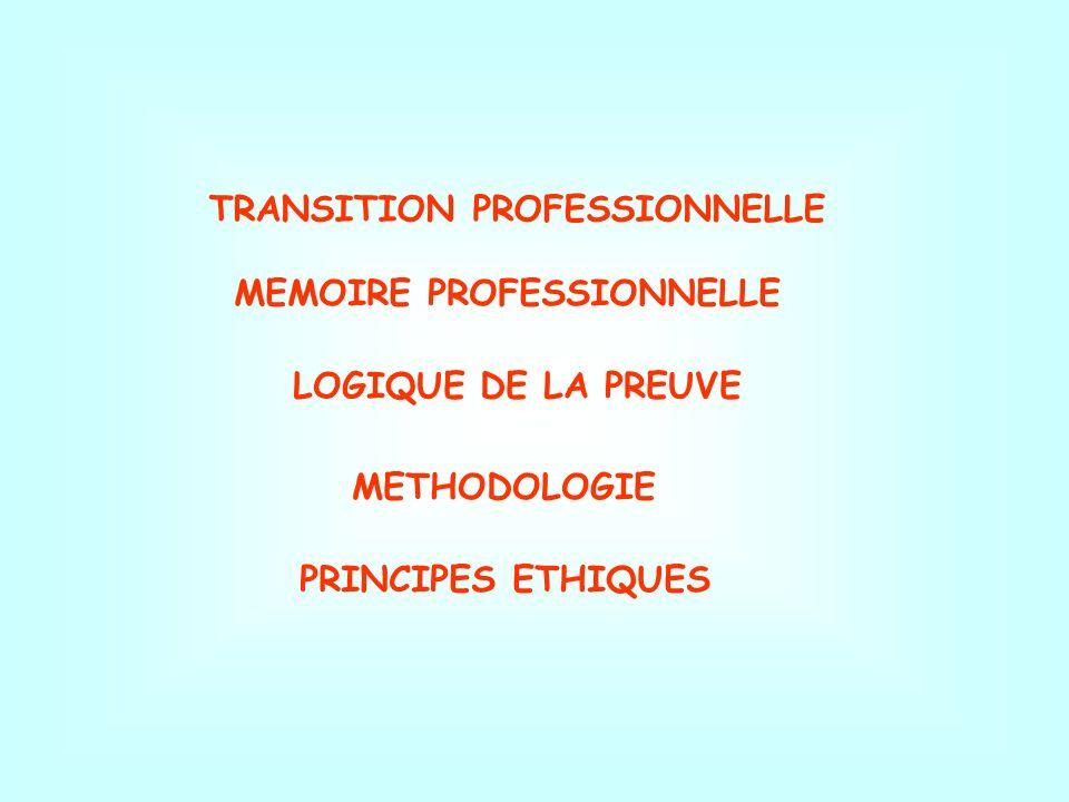 MEMOIRE PROFESSIONNELLE LOGIQUE DE LA PREUVE METHODOLOGIE PRINCIPES ETHIQUES TRANSITION PROFESSIONNELLE