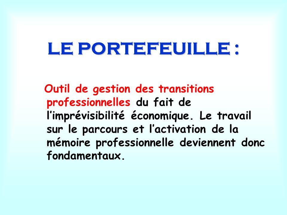 LE PORTEFEUILLE : Outil de gestion des transitions professionnelles du fait de limprévisibilité économique. Le travail sur le parcours et lactivation
