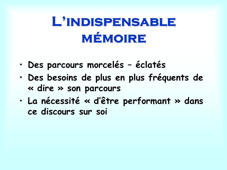 Lindispensable mémoire Des parcours morcelés – éclatés Des besoins de plus en plus fréquents de « dire » son parcours La nécessité « dêtre performant