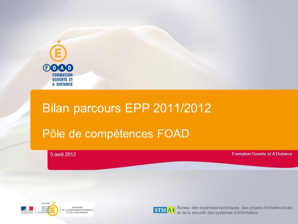 Formation Ouverte et A Distance Bilan parcours EPP 2011/2012 Pôle de compétences FOAD 5 avril 2012 Bureau des expertises techniques, des projets d'inf