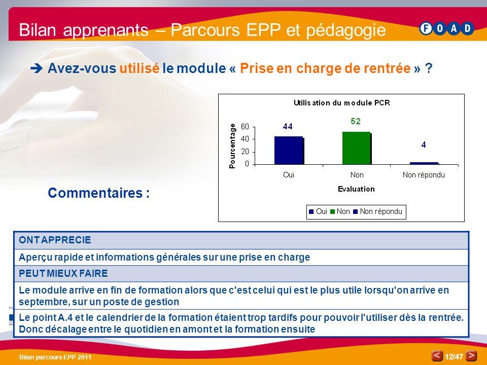 /47 Bilan parcours EPP 2011 12 Bilan apprenants – Parcours EPP et pédagogie Avez-vous utilisé le module « Prise en charge de rentrée » ? Commentaires