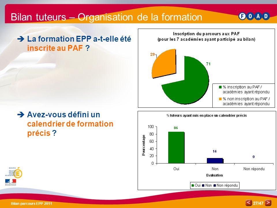 /47 Bilan parcours EPP 2011 27 Bilan tuteurs – Organisation de la formation La formation EPP a-t-elle été inscrite au PAF ? Avez-vous défini un calend