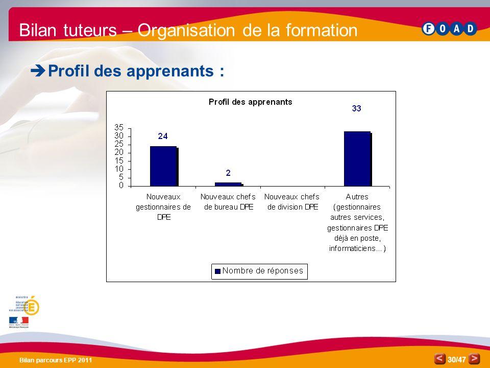 /47 Bilan parcours EPP 2011 30 Bilan tuteurs – Organisation de la formation Profil des apprenants :