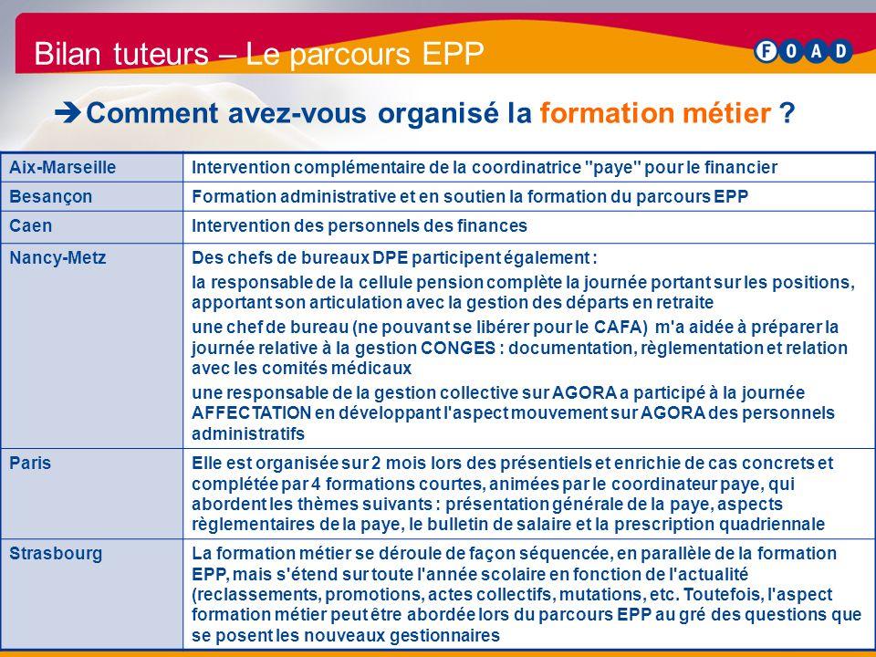 /47 Bilan parcours EPP 2011 32 Bilan tuteurs – Le parcours EPP Comment avez-vous organisé la formation métier ? Aix-MarseilleIntervention complémentai