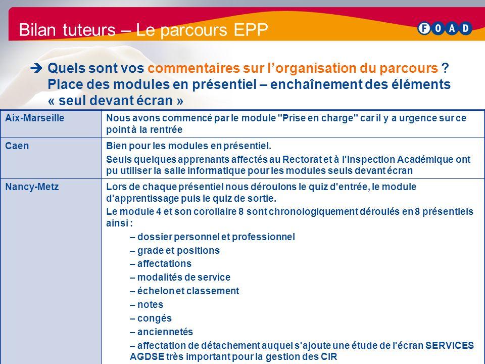 /47 Bilan parcours EPP 2011 33 Bilan tuteurs – Le parcours EPP Quels sont vos commentaires sur lorganisation du parcours ? Place des modules en présen