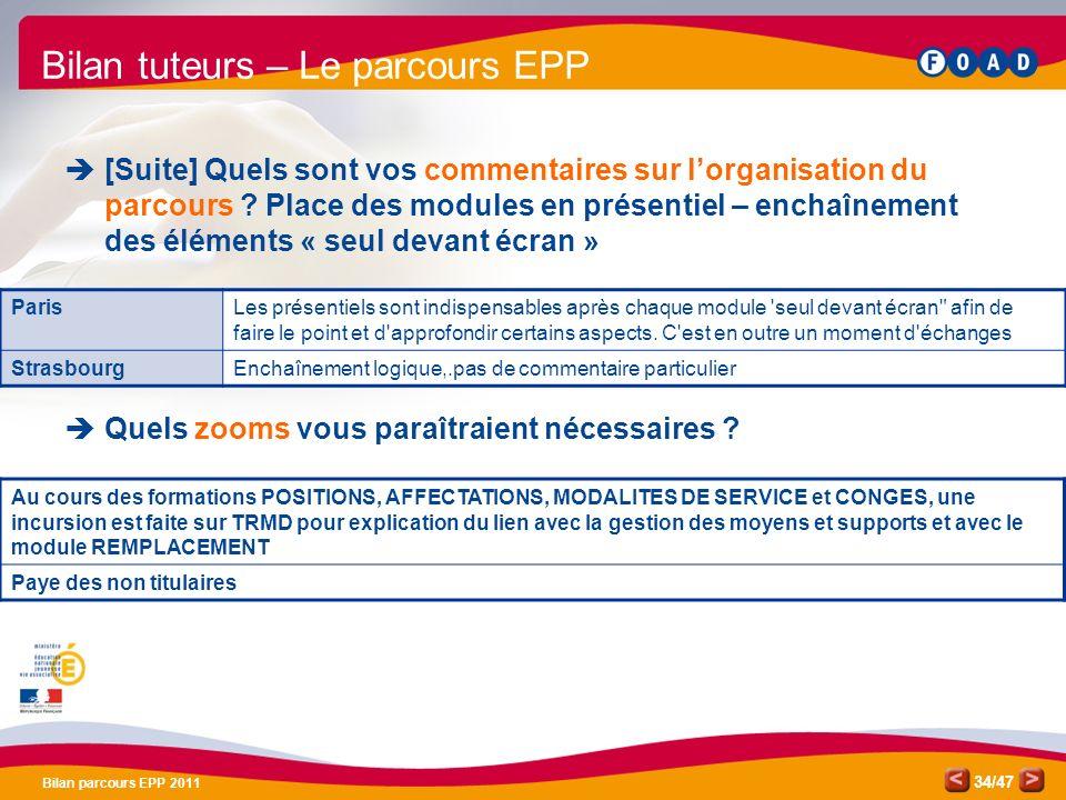 /47 Bilan parcours EPP 2011 34 Bilan tuteurs – Le parcours EPP [Suite] Quels sont vos commentaires sur lorganisation du parcours ? Place des modules e
