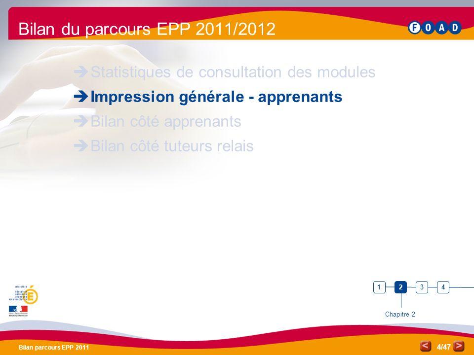 /47 Bilan parcours EPP 2011 4 Bilan du parcours EPP 2011/2012 Statistiques de consultation des modules Impression générale - apprenants Bilan côté app