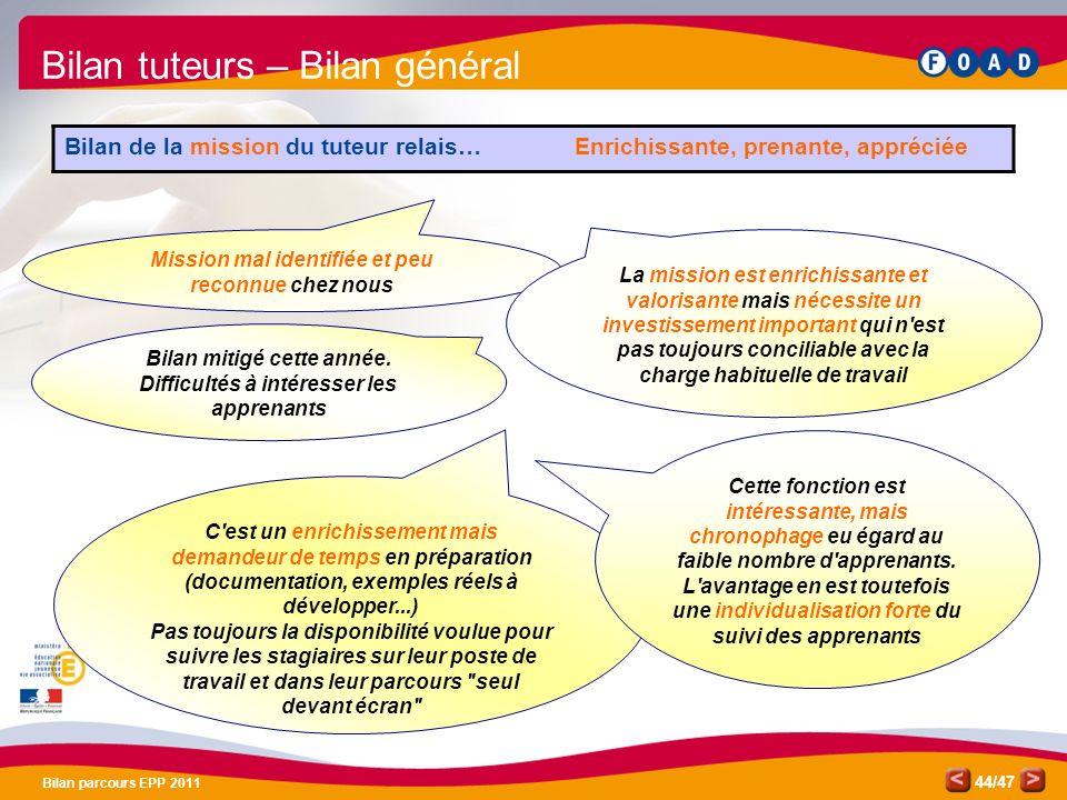 /47 Bilan parcours EPP 2011 44 Bilan mitigé cette année. Difficultés à intéresser les apprenants C'est un enrichissement mais demandeur de temps en pr