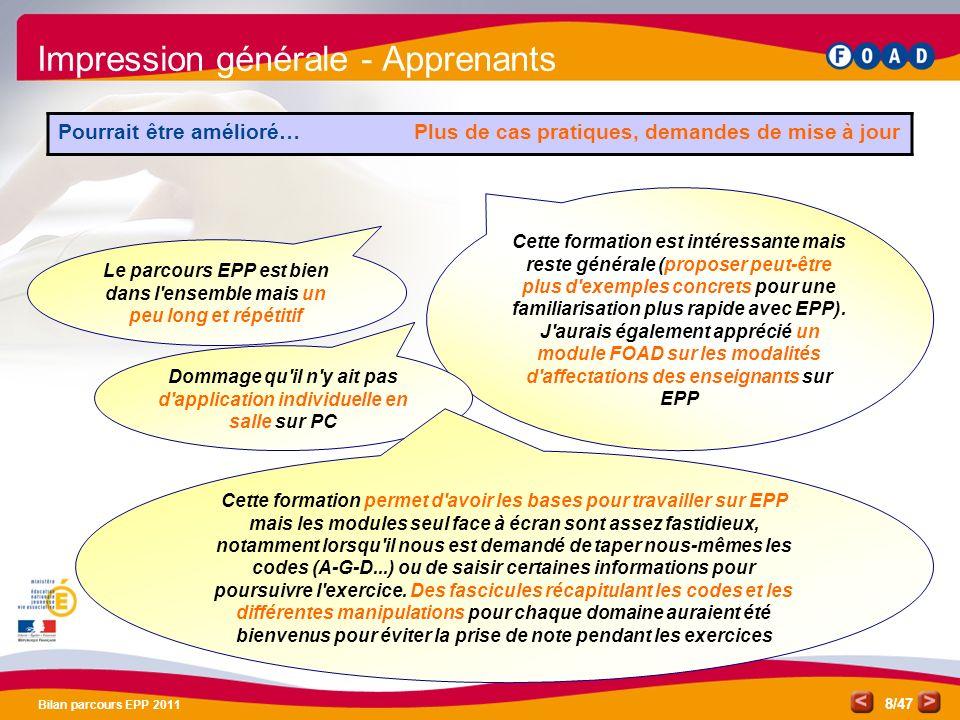 /47 Bilan parcours EPP 2011 8 Impression générale - Apprenants Pourrait être amélioré… Plus de cas pratiques, demandes de mise à jour Le parcours EPP