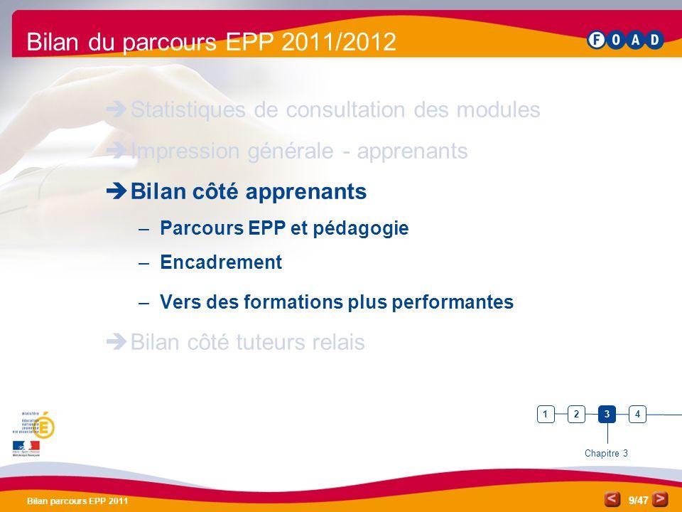 /47 Bilan parcours EPP 2011 9 Bilan du parcours EPP 2011/2012 Statistiques de consultation des modules Impression générale - apprenants Bilan côté app