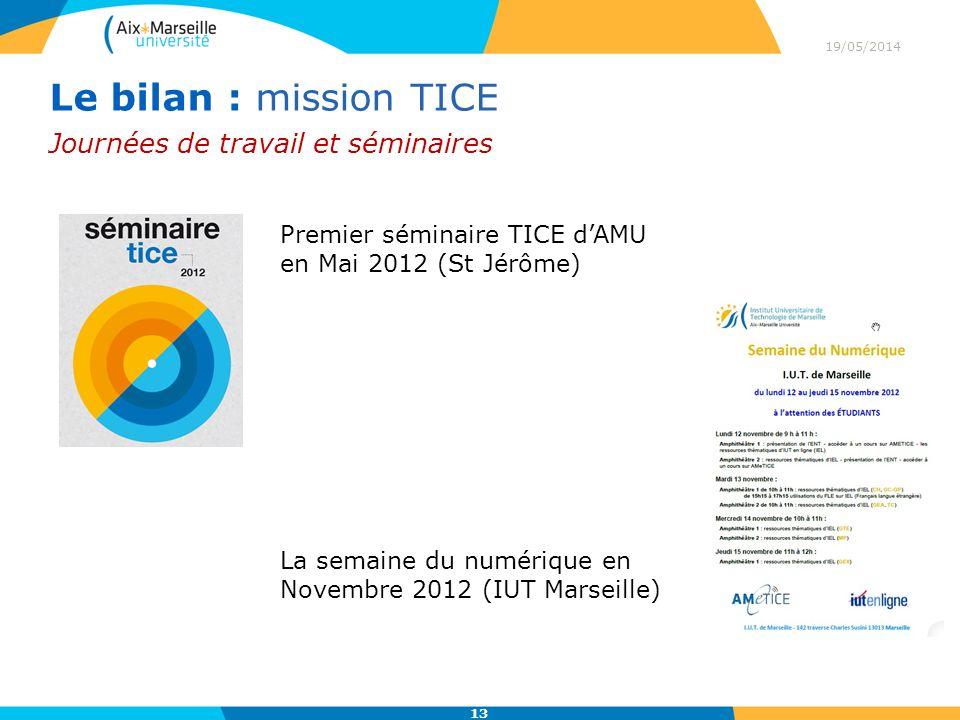 19/05/2014 13 Journées de travail et séminaires Le bilan : mission TICE Premier séminaire TICE dAMU en Mai 2012 (St Jérôme) La semaine du numérique en Novembre 2012 (IUT Marseille)