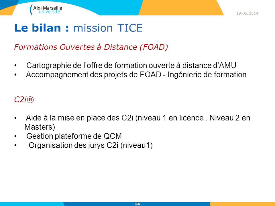 19/05/2014 14 Le bilan : mission TICE Formations Ouvertes à Distance (FOAD) Cartographie de loffre de formation ouverte à distance dAMU Accompagnement des projets de FOAD - Ingénierie de formation C2i® Aide à la mise en place des C2i (niveau 1 en licence.