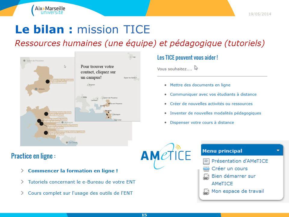 19/05/2014 15 Le bilan : mission TICE Ressources humaines (une équipe) et pédagogique (tutoriels)
