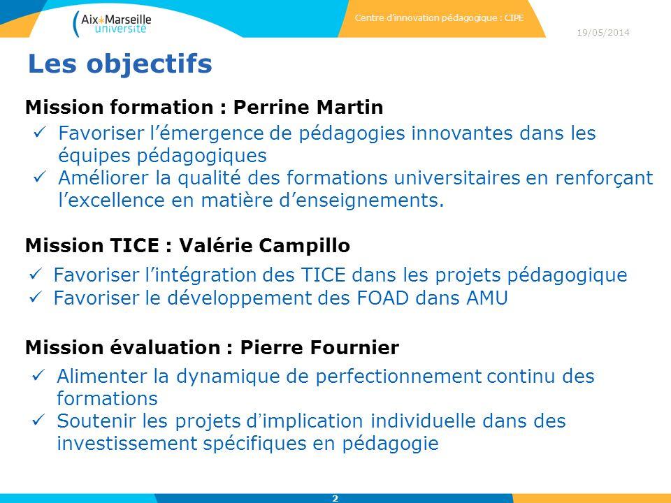 19/05/2014 2 Centre dinnovation pédagogique : CIPE Mission formation : Perrine Martin Favoriser lémergence de pédagogies innovantes dans les équipes pédagogiques Améliorer la qualité des formations universitaires en renforçant lexcellence en matière denseignements.