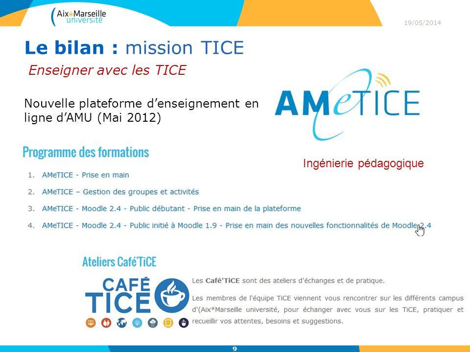 19/05/2014 9 Le bilan : mission TICE Enseigner avec les TICE Nouvelle plateforme denseignement en ligne dAMU (Mai 2012) Ingénierie pédagogique
