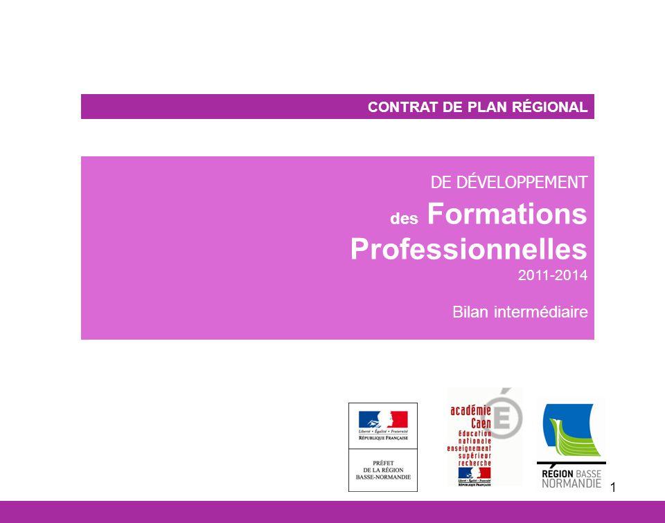 1 CONTRAT DE PLAN RÉGIONAL DE DÉVELOPPEMENT des Formations Professionnelles 2011-2014 Bilan intermédiaire