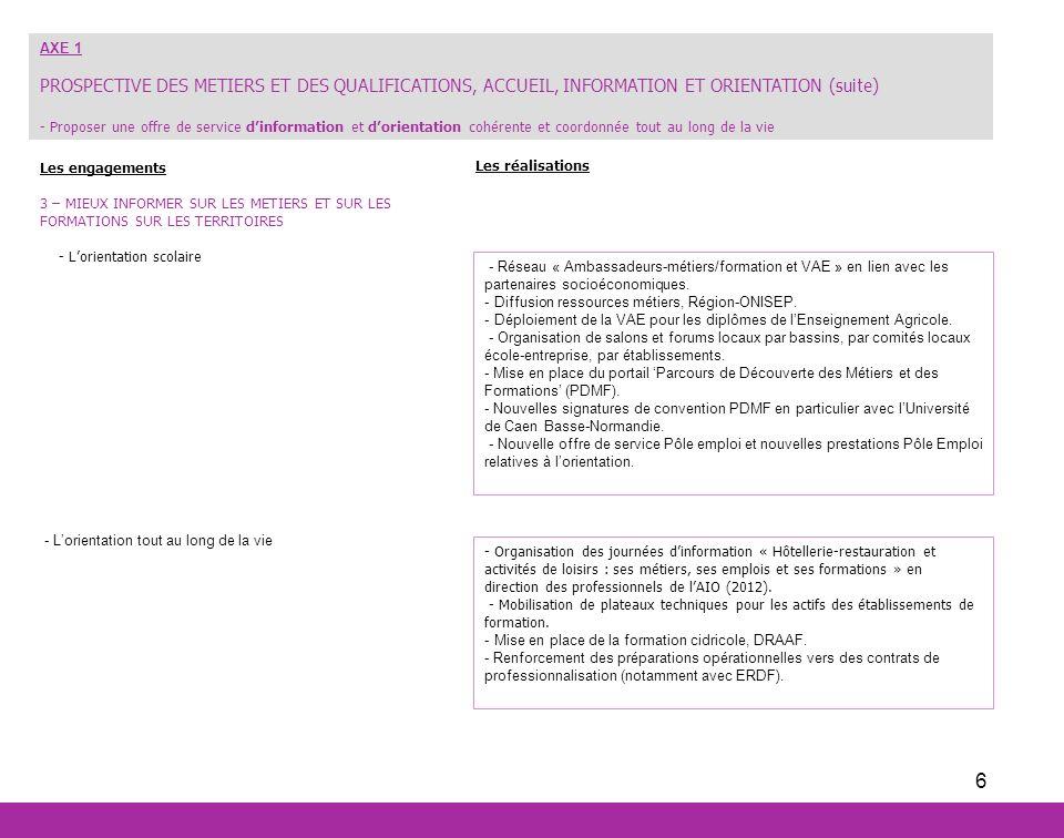 6 Les engagements 3 – MIEUX INFORMER SUR LES METIERS ET SUR LES FORMATIONS SUR LES TERRITOIRES - Lorientation scolaire - Lorientation tout au long de