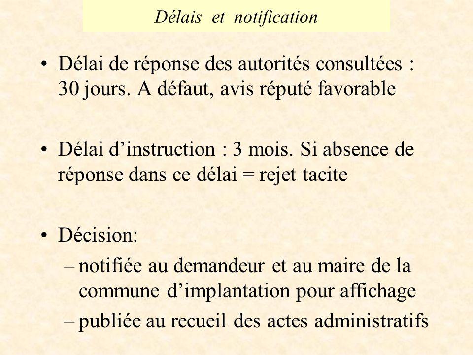 Délais et notification Délai de réponse des autorités consultées : 30 jours.