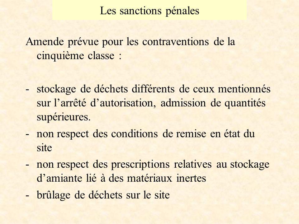 Les sanctions pénales Amende prévue pour les contraventions de la cinquième classe : -stockage de déchets différents de ceux mentionnés sur larrêté dautorisation, admission de quantités supérieures.