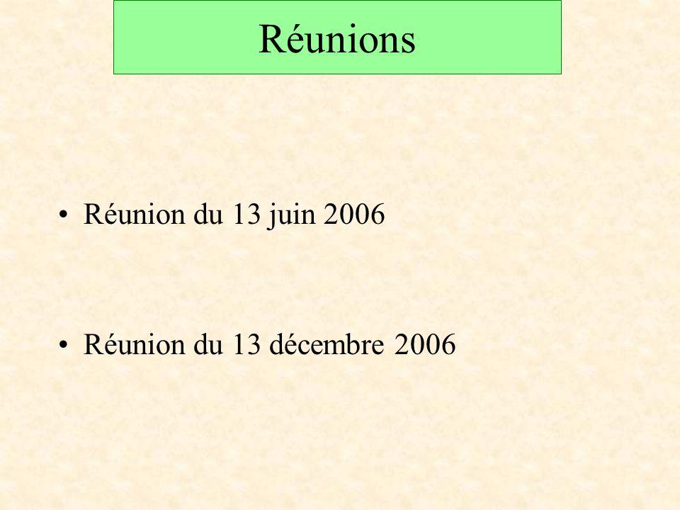 Réunions Réunion du 13 juin 2006 Réunion du 13 décembre 2006