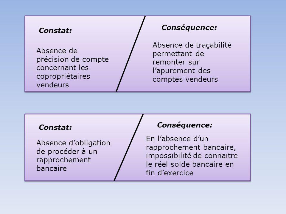 Constat: Conséquence: Absence de précision de compte concernant les copropriétaires vendeurs Absence de traçabilité permettant de remonter sur lapurem