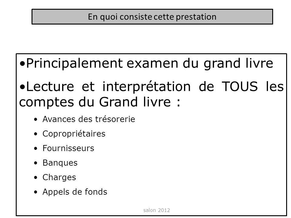Principalement examen du grand livre Lecture et interprétation de TOUS les comptes du Grand livre : Avances des trésorerie Copropriétaires Fournisseur