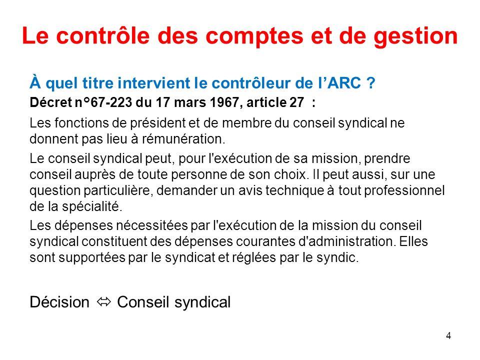 Le contrôle des comptes et de gestion À quel titre intervient le contrôleur de lARC ? Décret n°67-223 du 17 mars 1967, article 27 : Les fonctions de p